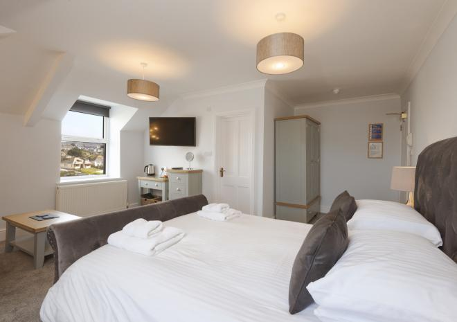 Superior King beach view, Porth Veor Manor, Porth, Newquay, Cornwall