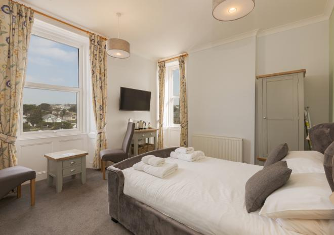 Superior double beach view bedroom, Porth Veor Manor, Porth, Newquay, Cornwall