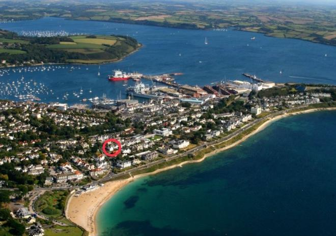 Aerial Photo of Falmouth Gylly Beach showing Kinbrae House's fabulous location