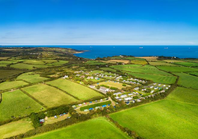 Aerial view of Little Trevothan in Coverack
