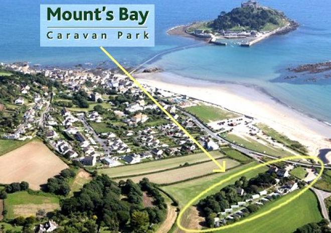Coastal location, Marazion, Mounts Bay Caravan Park, Aerial View
