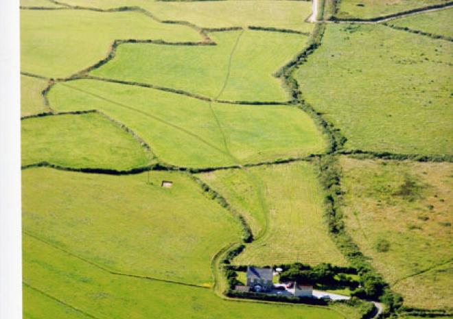 Treeve Moor Cottage, aerial view, self catering, West Cornwall