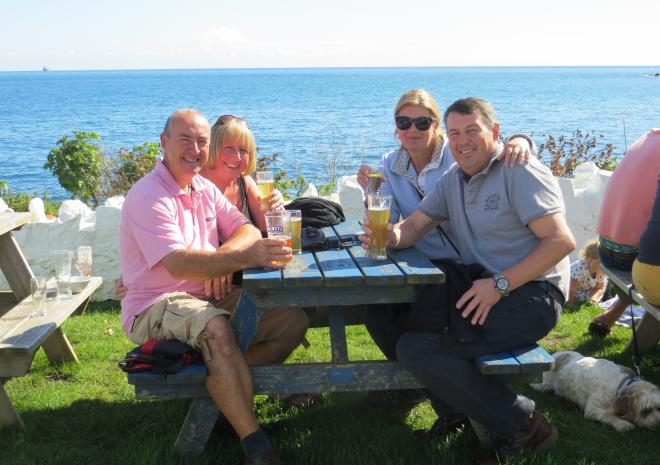 Relaxing at the Paris in Coverack Harbour!