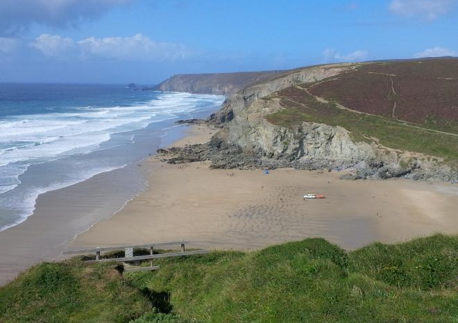 Porthtowan Beach looking from west side cliffs