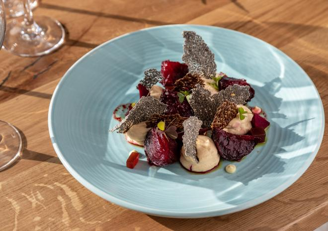 Roasted beets & molasses, smoked goats' cheese custard, damson, chia & linseed