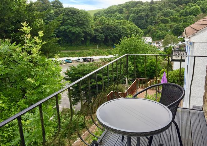Balcony, looking down towards village, The Retreat apartment, Polperro
