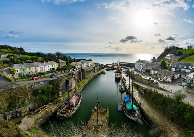 A panoramic view of Charlestown Harbour