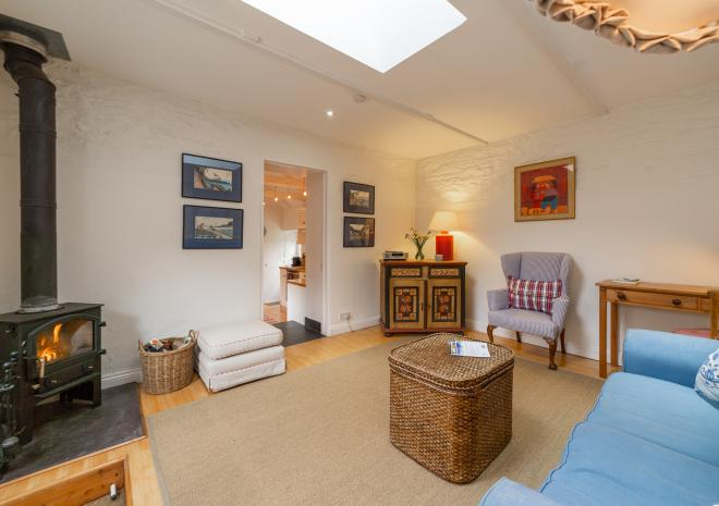 Large sitting room with woodburner