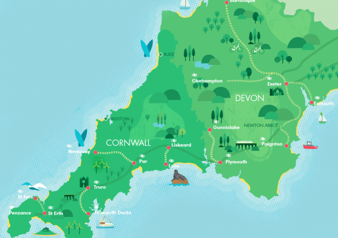 Map of Cornwall's great scenic railways