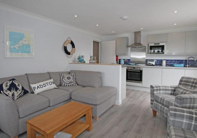 Driftwood lounge and kitchen, Mawgan Porth Apartments, Cornwall