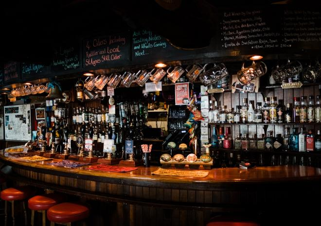 The well-stocked bar at The Driftwood Spars