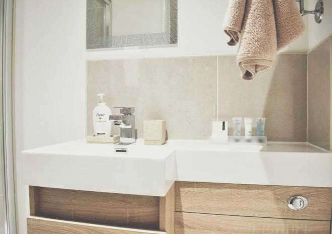 Ensuite Bathroom with rainfall shower at Count House Cottage B&B, Carbis Bay, St Ives