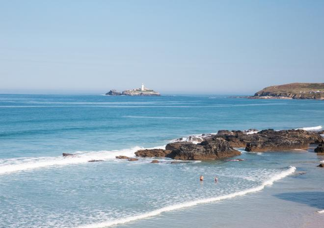 Gwithian Beach and Godrevy Lighthouse