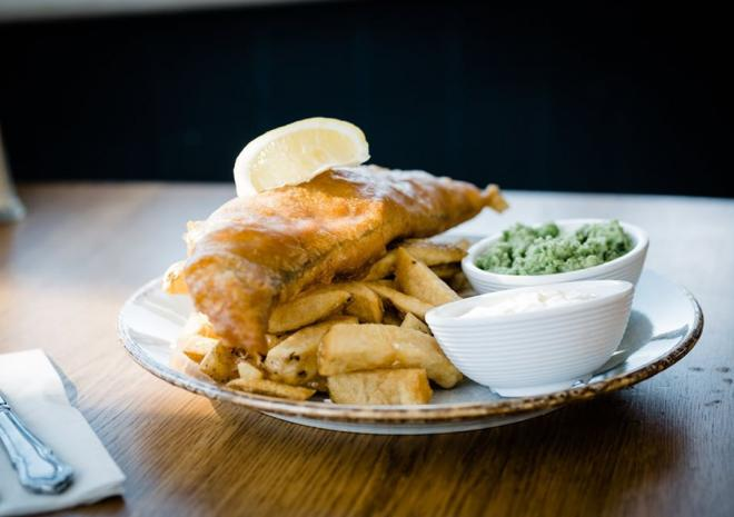 Fish and chips at The Driftwood Spars