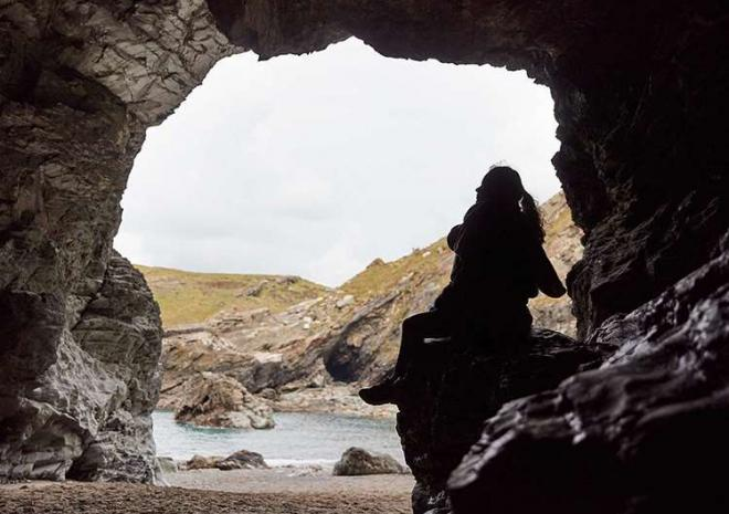 Tintagel Castle, Cornwall, English Heritage, Merlin's Cave