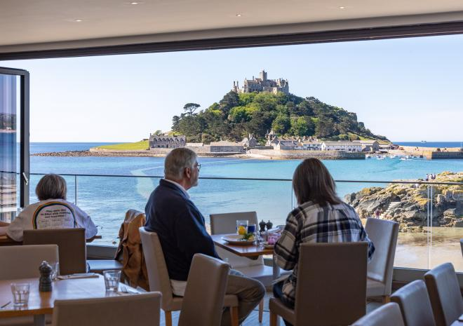 Sea views and St Michael's Mount from the restaurant