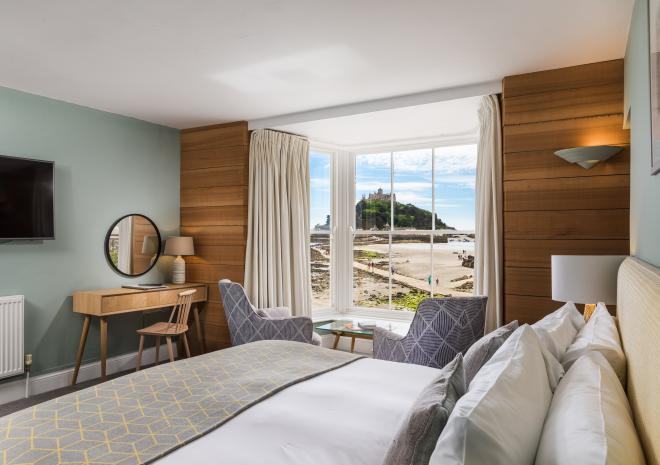 Sea view room overlooking Marazion Beach and St Michael's Mount