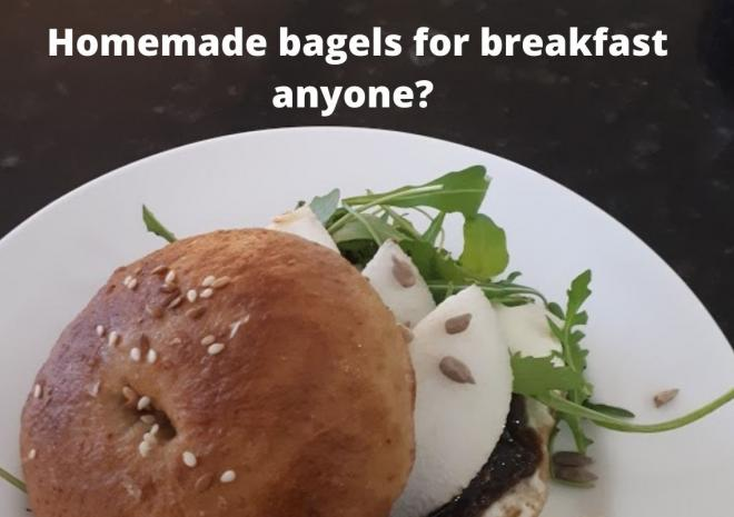 Homemade bagels cream cheese and figs as an idea for breakfast?
