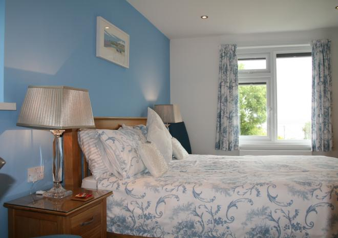Bedroom 1 with Sea Views & King Size Bed at Count House Cottage, Carbis Bay