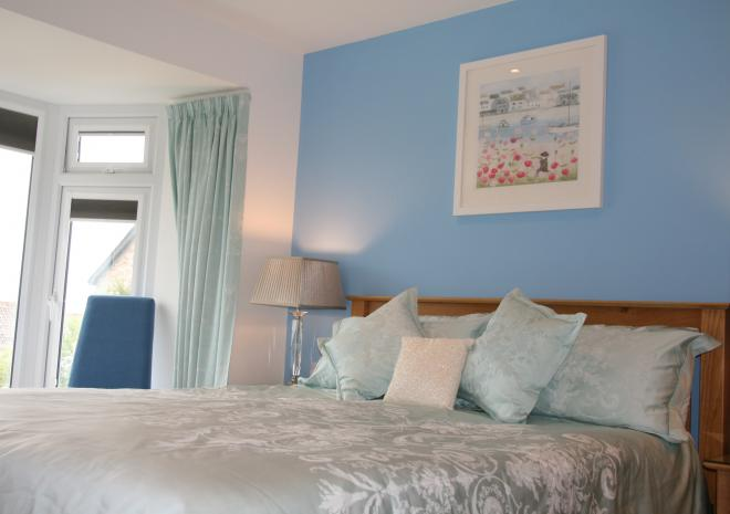 Bedroom 3 with Sea Views & King Size Bed at Count House Cottage, Carbis Bay, St Ives