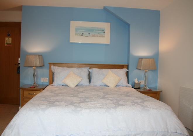 Bedroom 2 with Sea Views & King Size Bed at Count House Cottage, Carbis Bay, St Ives