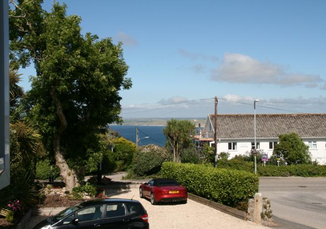 Sea View from Bedroom 1 at Count House Cottage B&B, Carbis Bay, St Ives with King size bed