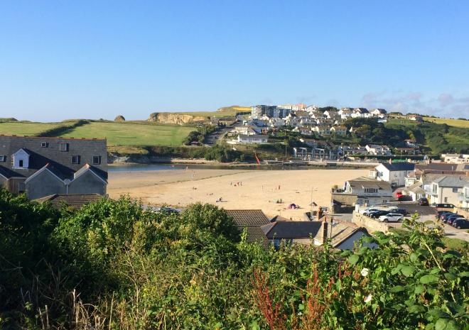 View to the beach at Porth, Porth Veor Manor Hotel, Cornwall