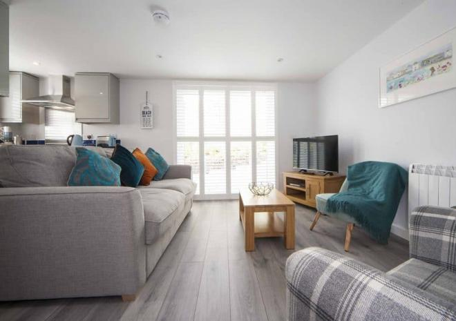 Lounge area, Mawgan Porth Apartments, Cornwall