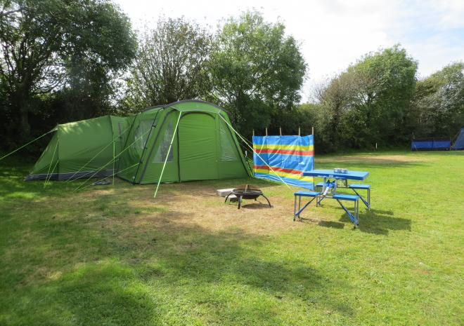Camping on large level pitches at Little Trevothan