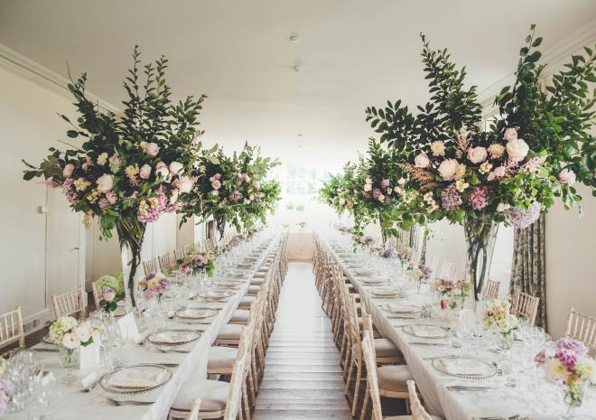 Garden Room wedding breakfast set up | Image: Amy Shore Photography