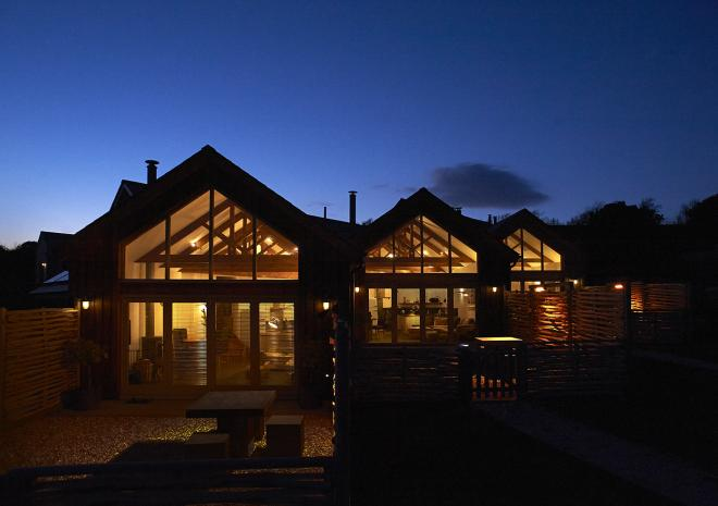 Merlin Farm Eco Cottages at night Cornwall