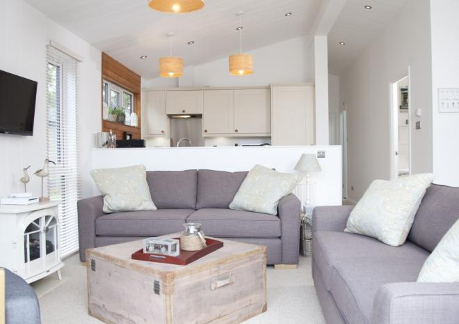 lodge lounge with plush great seating and open plan kitchen