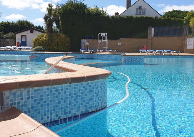 Make a splash, in the outdoor pool, at Hendra
