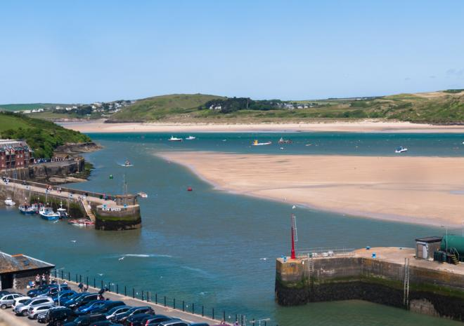 Views from Padstow Harbour Hotel over Padstow Harbour & the camel estuary