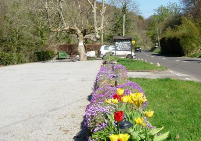 Onsite car park at Polraen Country House Bed and Breakfast Looe Cornwall