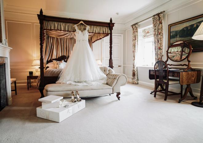 The 'Dewhurst' bridal suite at Pentillie Castle