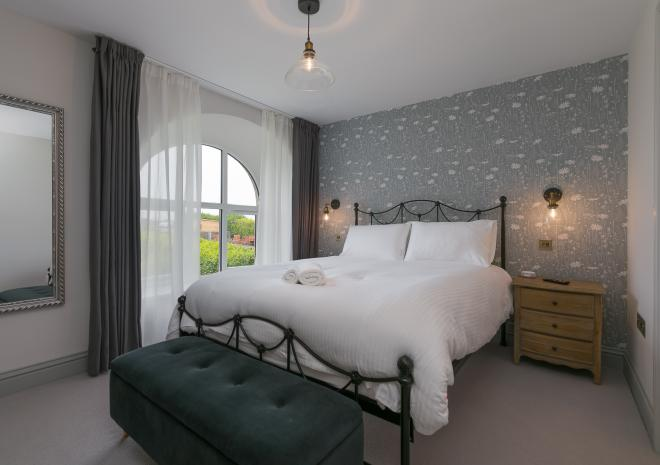 One of two bedrooms in holiday cottage, Morwenna, at Polmanter Touring Park, St Ives