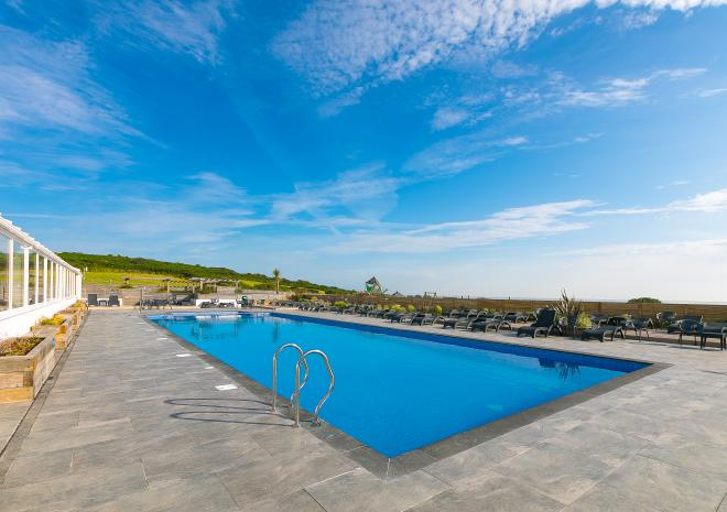 Polmanter Touring Park's outdoor heated swimming pool