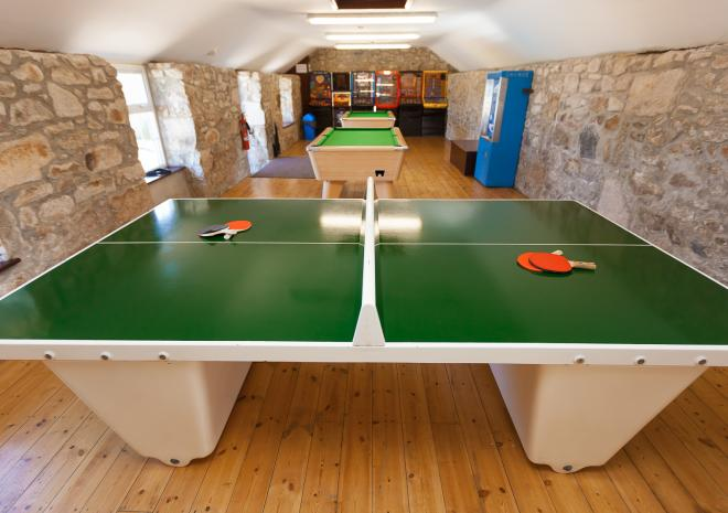 Polmanter Touring Park games rooms, with pool table and ping pong table