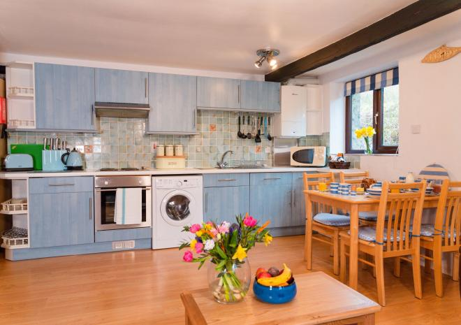 The well-equipped kitchen at Blackberry Cottage, Polrunny Farm