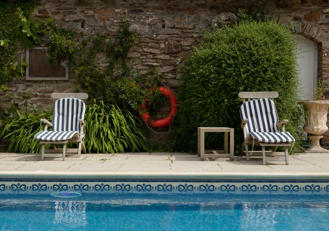 Swimming Pool Rose in Vale Country House Hotel, St Agnes, Cornwall