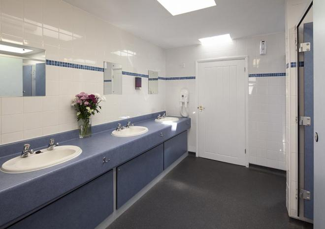 A modern heated toilet block