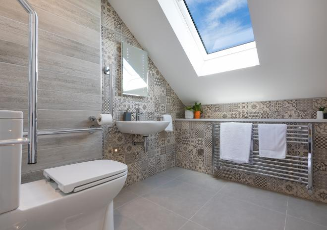 Bathroom of the self catered apartment, Demelza, at Polmanter Touring Park, St Ives