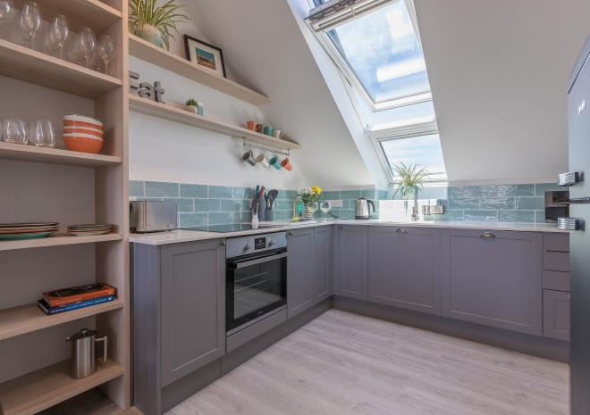 Kitchen of the self catered apartment, Demelza, at Polmanter Touring Park, St Ives