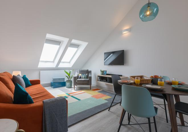 Open plan living room of the self catered apartment, Demelza, at Polmanter Touring Park, St Ives