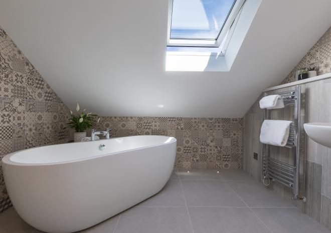 Freestanding bath in the the self catered apartment, Kerenza, at Polmanter Touring Park, St Ives
