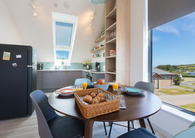 Kitchen of the self catered apartment, Kerenza, at Polmanter Touring Park, St Ives