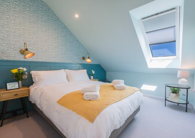 Master bedroom in the self catered apartments at Polmanter Touring Park, St Ives