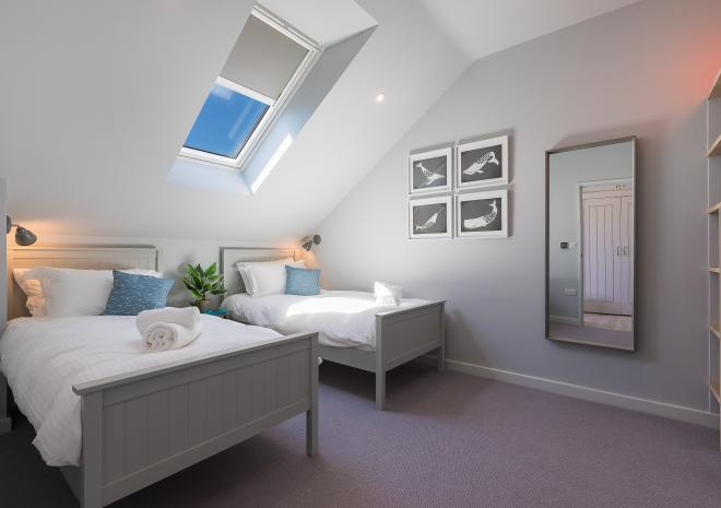 Second bedroom in the self catered apartments at Polmanter Touring Park, St Ives