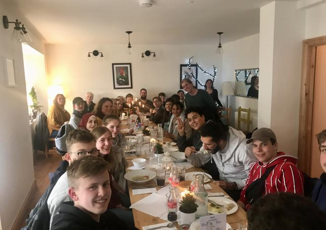 Group meal at the end of the holiday